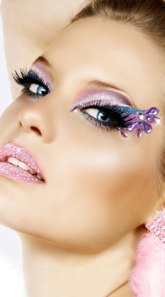 Cotton Candy Eye Kit, Purple and Blue Glitter Eyes, Costume Make Up Eye Stickers