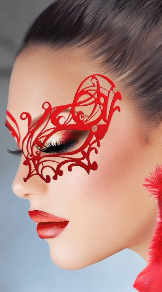 Red Lust Mask, Red Swirl Eye Mask, Red Body Sticker Mask