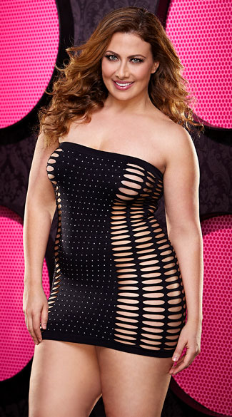 Plus Size Naughty Girl Diamond Mini Dress, Plus Size Black -6522