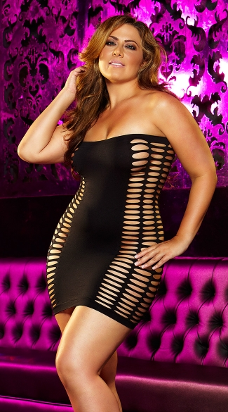 Naughty Girl Mini Dress, Ripped Mini Dress, Ripped Chemise, Sexy Slashed Mini Dress-7875