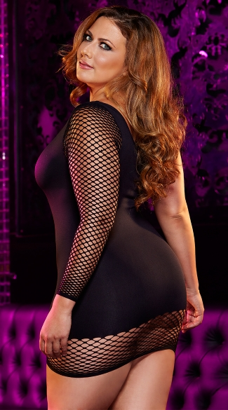 Plus Size Off The Hook Mini Dress - Black
