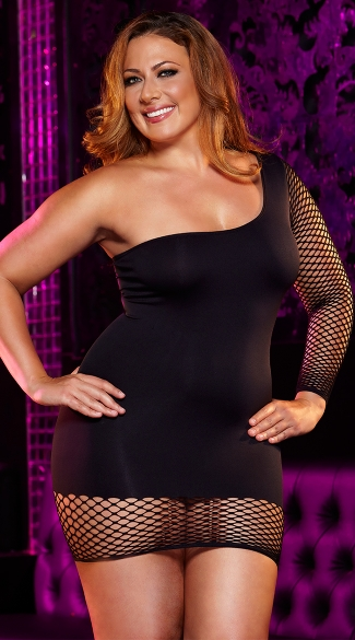 Plus Size Off The Hook Mini Dress, Plus Size Fishnet Sleeve Dress