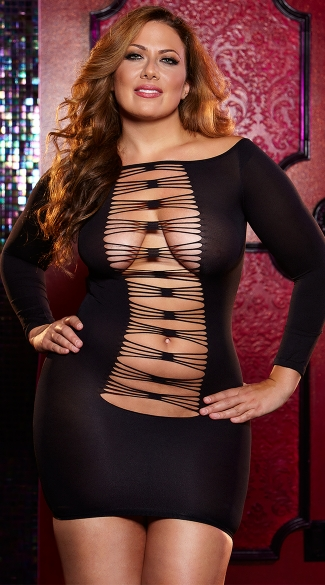 Plus Size Thru The Wire Mini Dress - Black