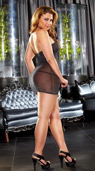 Plus Size Sparkle VIP Mini Dress - Black