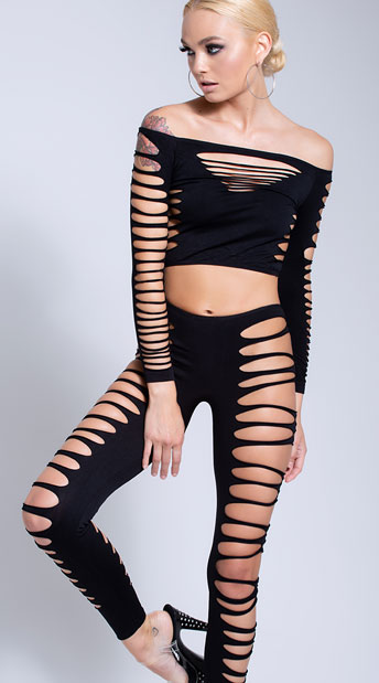 Fire Flame Crop Top And Pant Sexy Clothing For Women