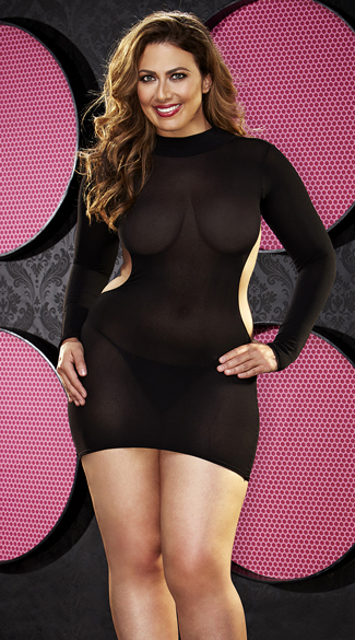 Plus Size Long Sleeve Backless Mini Dress, Plus Size High Neck Backless Dress, Plus Size Sheer Black Dress