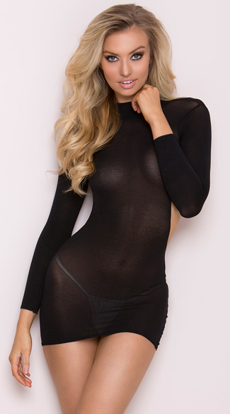 Long Sleeve Backless Mini Dress, High Neck Backless Dress, Sheer Black Dress