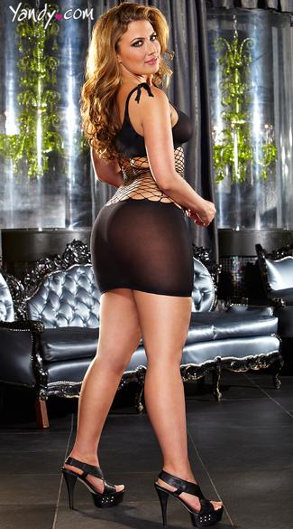 Plus Size Fencenet Mini Dress - Black