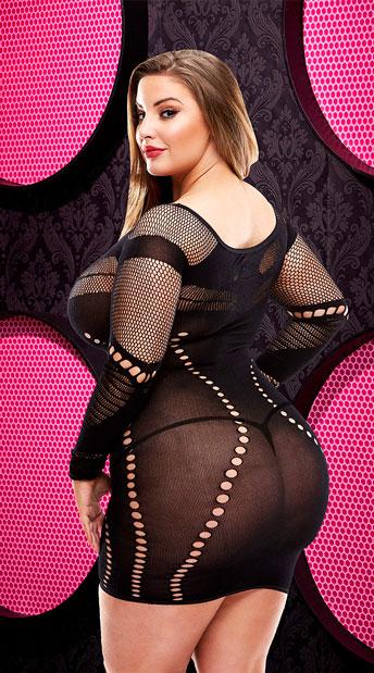 Plus Size Long Sleeve Mini Dress - Black