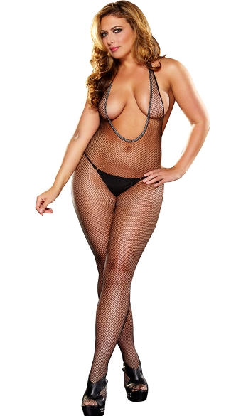 Plus Size Halter V-Neck Fishnet Bodystocking with Open Crotch - Black