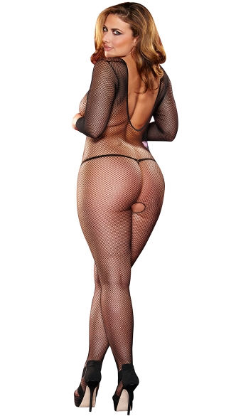 Plus Size Long Sleeve Crotchless Bodystocking - Black