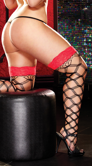 Plus Size Lace Top Large Net Pattern Stockings - Red