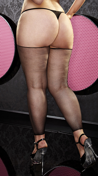 Plus Size Black Footless Fishnet Thigh Highs - as shown