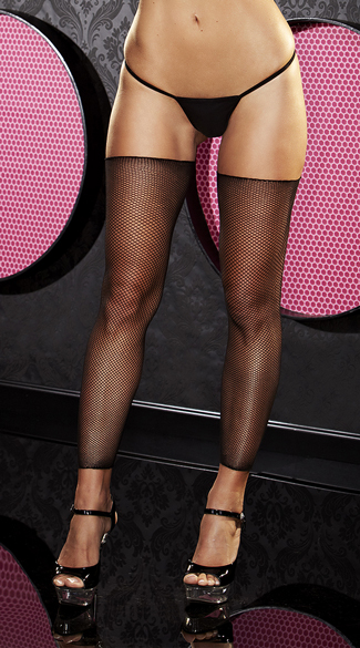 Black Footless Fishnet Thigh Highs - as shown