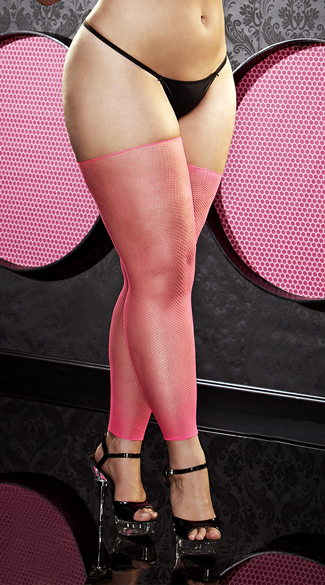 Plus Size Pink Footless Fishnet Thigh Highs, Plus Size Pink Footless Thigh Highs, Plus Size Pink Fishnet Thigh Highs