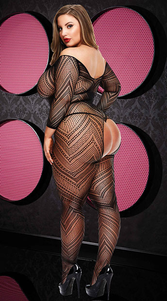 Plus Size VIP Long Sleeve Crotchless Bodystocking - Black