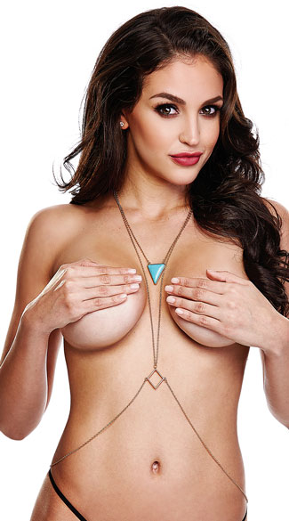 Turquoise Triangle Body Chain, Gold Body Chain, Triangle Body Chain