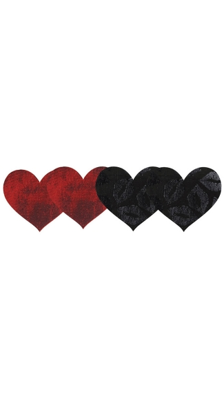 Stolen Kisses Hearts Pasties 2 Pack - Red/Black