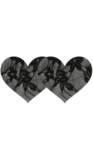 Black Lace Heart Pasties - Black