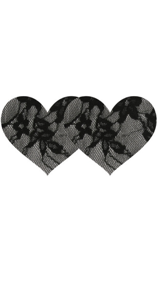 Black Lace Heart Pasties, Silver Satin with Black Lace Pasties, Two Pack Lace Pasties