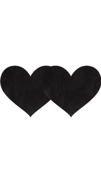Black Satin Heart Pasties - Black