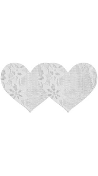 White Lace Heart Pasties, White Floral Lace Pasties, Floral Lace Heart Pasties