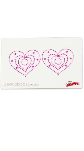 Pink Crystal Heart Pasties - Pink