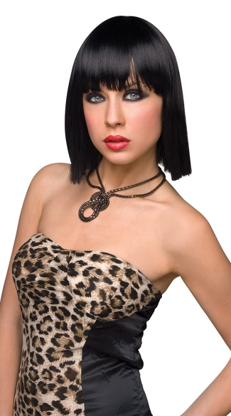 Katie Black Short Wig, Sexy Black Bobbed Wig, Short Black Straight Wig