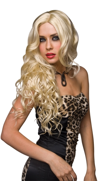 Jennifer Blonde Tousled Curly Wig, Long Curly Wig With No Bangs, Sexy Blonde Curly Tousled Wig
