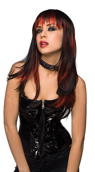 Black And Red Vixen Rockstar Wig, Black and Red Rocker Wig, Sexy Black and Red Wig