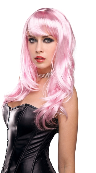 Candy Pink Explosion Wavy Wig - as shown