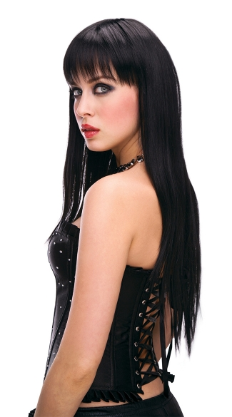 Amber Black Long Straight Wig - Black
