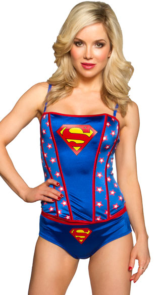 a59e510db Plus Size Superman Printed Corset Set - Blue Red ...