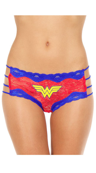 Wonder Woman Hipster Panty, Wonder Woman Panty, Red and Blue Lace Panty