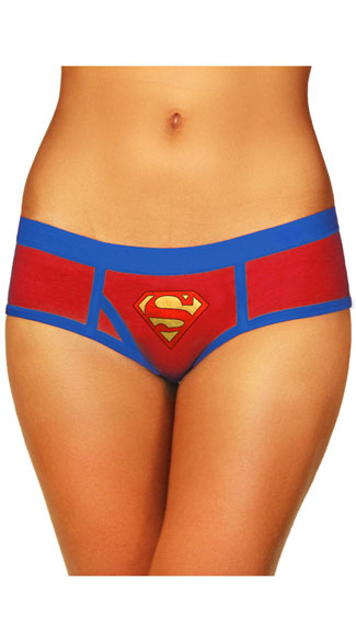 Plus Size Superman Boyshort Panty, Plus Size Red and Blue Panty, Plus Size Superman Panty