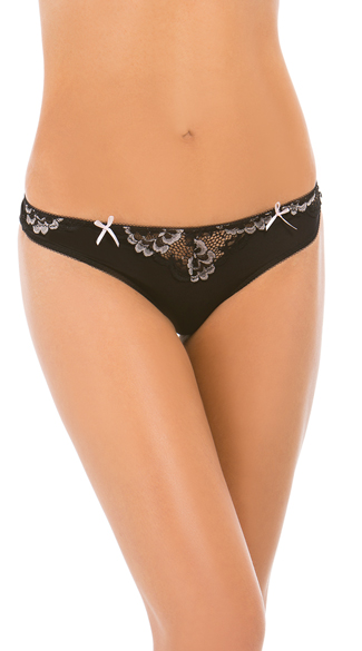 Yandy Black Belinda Lace Thong - Black