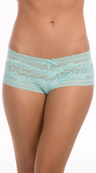 In Bloom Aqua Lace Boyshort, Sheer Lace Boyshort, Blue Lace Boyshort