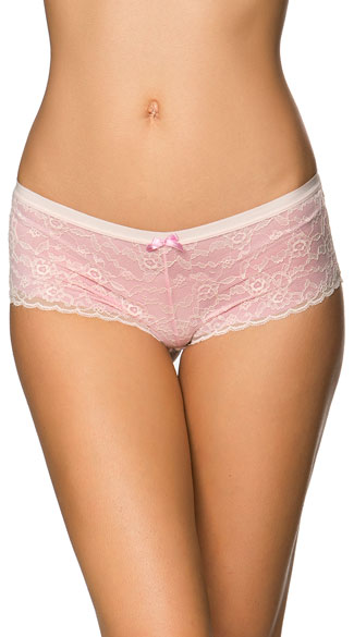 Restless Romance Pink Boyshort, Pink Lace Panty, Light Pink Lace Panty