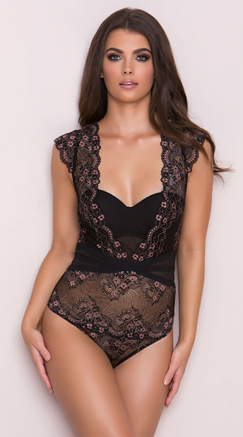 Yandy\'s The Tatiana Bodysuit, black and pink lace teddy - Yandy.com