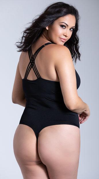 Yandy Plus Size Cross Body Bodysuit - Black