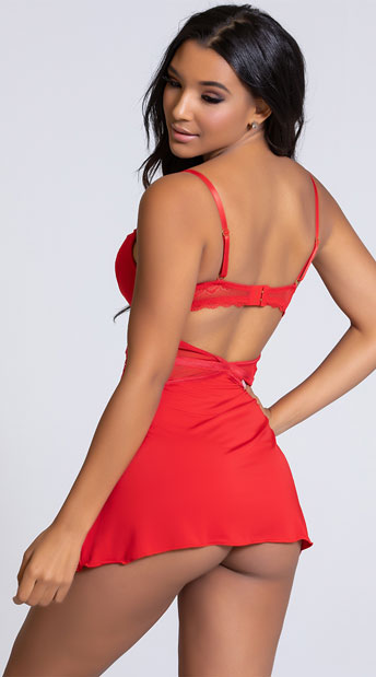 Yandy The Tyra Push-Up Red Chemise Set - Red
