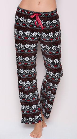 Yandy Snowflake Fleece Pajama Pant - As Shown