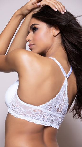 Yandy White Lace Racerback Bra - White