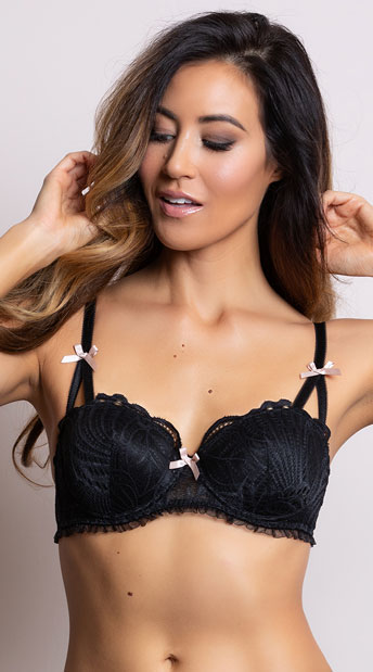 Yandy Sweet As Can V Black Bra - Black