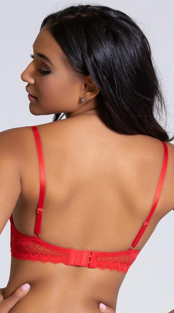 Yandy Gloss Over Red Balconette Bra - Red