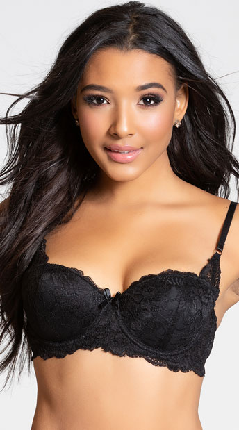 4878a9a13 Yandy Make Me Blush Black Balconette Bra - Black ...