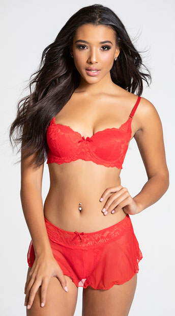 Yandy Make Me Blush Red Skirted Thong Panty - Red