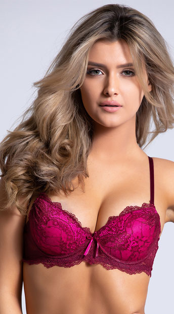 ffc0783381 Yandy Red Hot Pursuit Burgundy Push-Up Bra - Burgundy ...