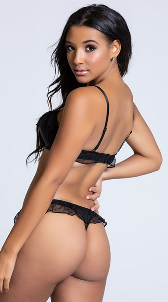 Yandy Frill Seeker Black Thong Panty - Black