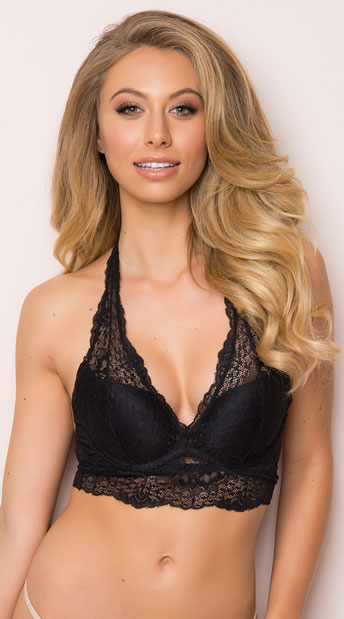 10df696418 Yandy Pretty Little Thing Black Halter Bralette - Black ...